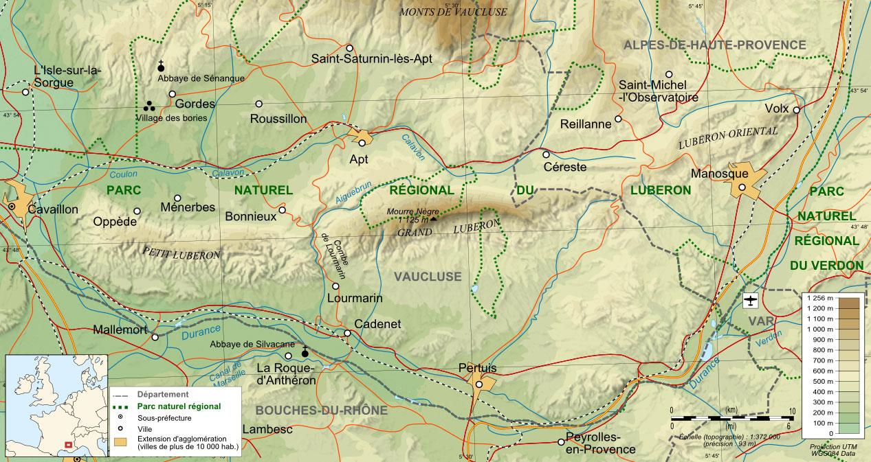 Carte du Parc Naturel Régional du Luberon
